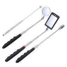 4 pces magnético pick up ferramenta telescópica 8 lb/1 lb pegar varas e 360 espelho de inspeção giratória com luz led acessórios do carro