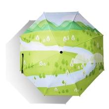 Folding Umbrella Sunscreen Anti-UV Waterproof Women Umbrellas Parasol Creative Fashion Teenage Girl Champaign
