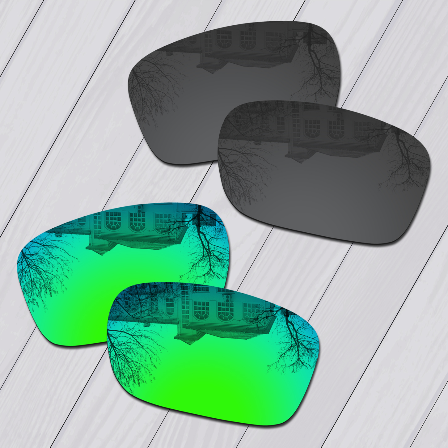 E.O.S 2 Pairs Black & Emerald Green Polycarbonate Replacement Lenses for Oakley Holbrook Metal OO4123 Sunglasses