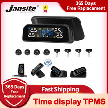 Jansite TPMS Wireless Car Tire Pressure Alarm Monitoring System Time Warning 360 degree Rotation Solar Power Charge tpms sensors