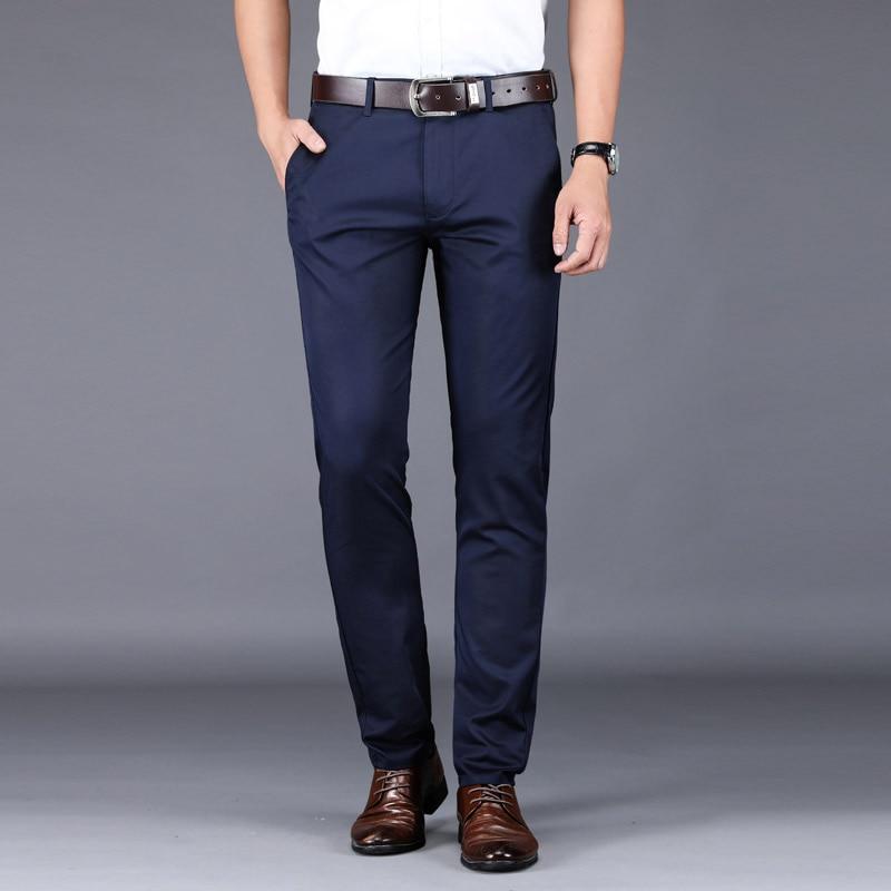 2020 New Summer Men Chinos Pants Straight Fashion Casual Men Trousers Classic Business Pants For Men Khaki Black