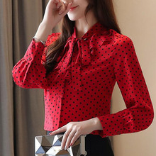 цены на Blusas femininas shirt 2019 ladies tops long sleeve button bow white blouse women clothing Polka Dot V-Neck shirt for women 0226 в интернет-магазинах