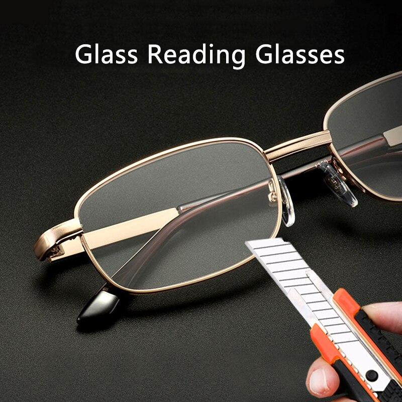 Occhiali da lettura con lenti in vetro uomo donna presbiopia ingrandimento lenti in cristallo trasparente occhiali antigraffio diottrie 150 250 350 1