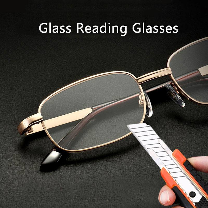 Glass Lens Reading Glasses Men Women Presbyopia Magnifying Clear Crystal Lenses Anti Scratch Diopter Eyewear +150 250 350
