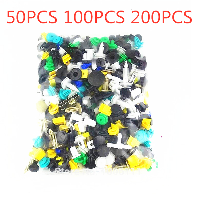 50/100/200Pcs Random Mixing Universal Car Fender Plastic Clips Bumper Interior Decoration Auto Plastic Fastener