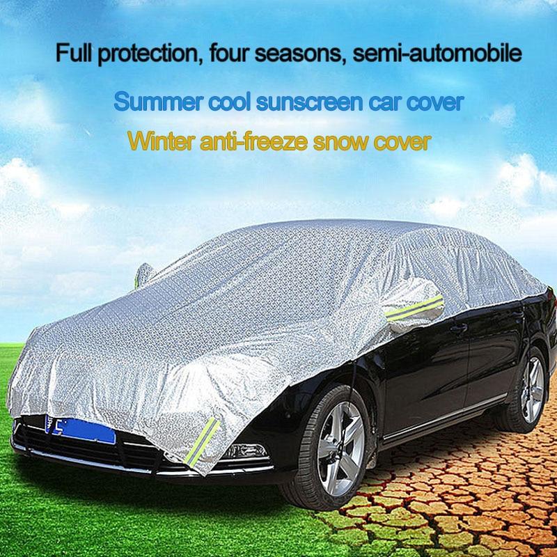 Купить с кэшбэком Universal Car Covers Summer Cool Sunscreen Car Cover Winter Anti-Freeze Snow Cover Waterproof