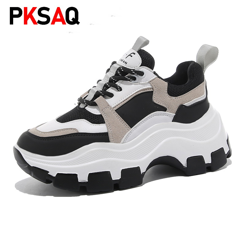 Sneakers Women Spring Dropshipping Thick Bottom Daddy Shoes Thick Bottom Round Toe Breathing Leisure Women Shoes