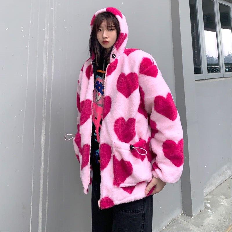 Зимняя новая стильная Корейская Толстая свободная повседневная куртка bf с сердечками для женщин