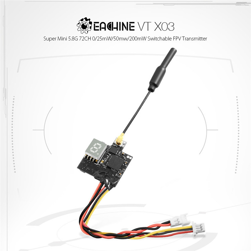 1PCS Eachine VTX03 Super Mini 5.8G 72CH 0/25mW/50mw/200mW Switchable FPV Transmitter For Remote Control Drones