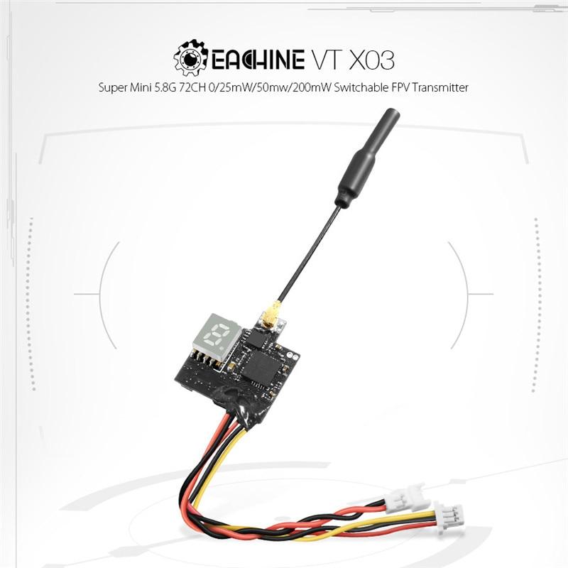 1PCS Eachine VTX03 Super Mini 5.8G 72CH 0/25mW/50mw/200mW Switchable FPV Transmitter For Remote Control Drones