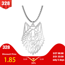 My Shape Wolf Animal Necklace 316L Stainless Steel Forest Animals Men Necklace Hollow Cut Out Pendant Jewelry Gift For Women trendy cut out bar noctilucent necklace for women
