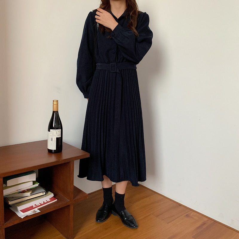 H97acbd584eae49b3892c0966584c8a2dA - Autumn Turn-Down Collar Long Sleeves Pleated Solid Midi Dress
