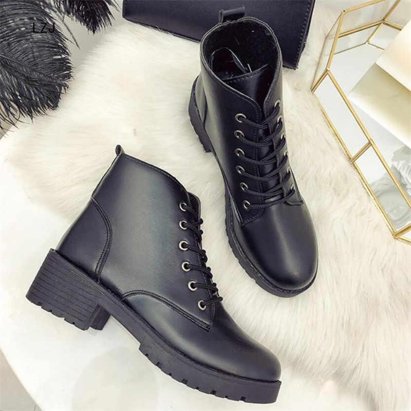 LZJ 2019 Sonbahar Yeni kadın ayakkabısı Düz dipli Çizmeler Moda Rahat Sıcak bayan Botları Marka Deri kadın ayakkabısı
