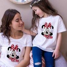 Koszulki damskie T Shirt Minnie nadruk z myszą T-shirt na co dzień białe z krótkim rękawem dla dziewczynek topy letnia marka rodzina pasujące ubrania