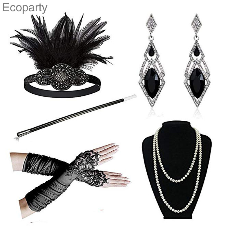 15 Great Gatsby Accessories For Women Feather Headbands Flapper Costume Accessory Cigarette Holder Pearl Necklace Gloves