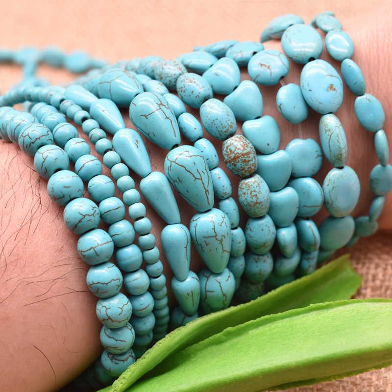 """Niebieski Abacus kamień Turquoises koraliki dystansowe luzem nasion okrągły kształt łezki luźne koraliki 15 """"Strand 8MM DIY paciorki tworzenia biżuterii"""