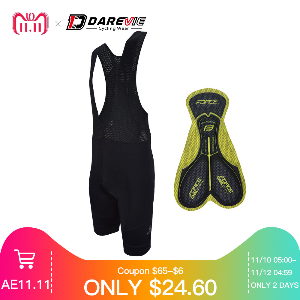 Darevie cycling bib shorts men 3D gel padded shockproof team pro breathable black biking