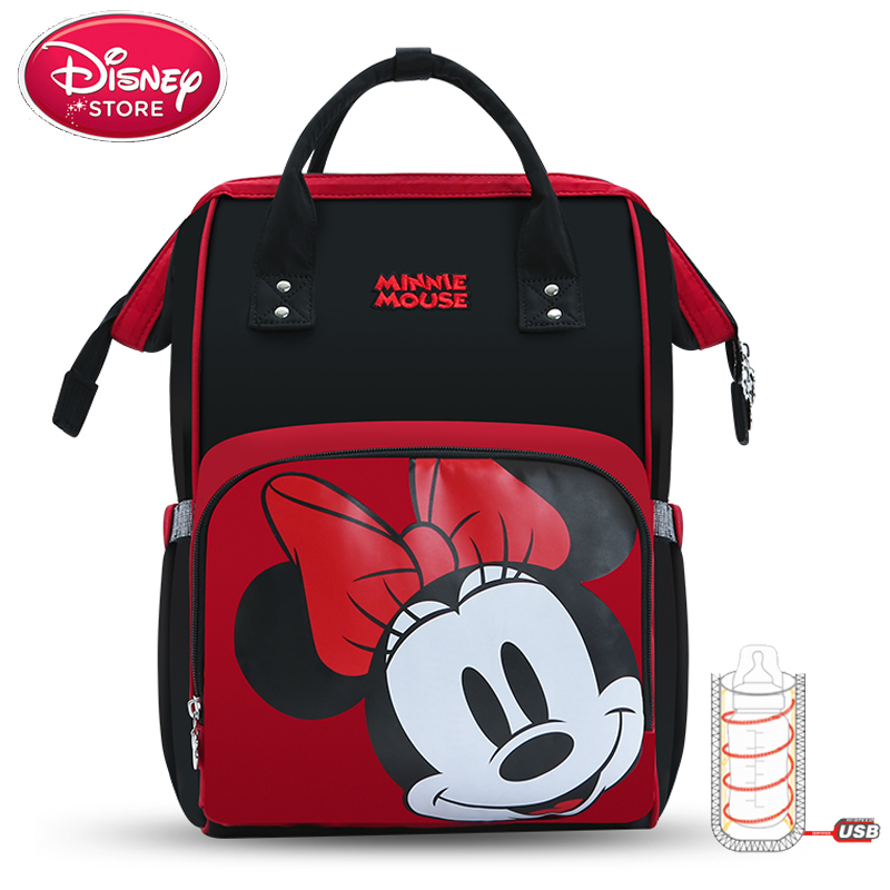 Disney Bags Mickey And Minnie Mouse Mummy Diaper Bags USB Bottle Insulation Feeding Bag Waterproof Mom Handbag Disney Backpack