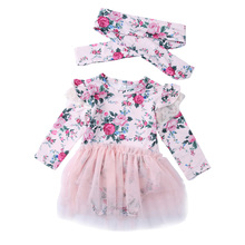 Newborn Toddler Baby Girl Clothes Set Floral Fly Sleeve Tutu Lace Dress Clothes+headband Outfit 6-24Month suit