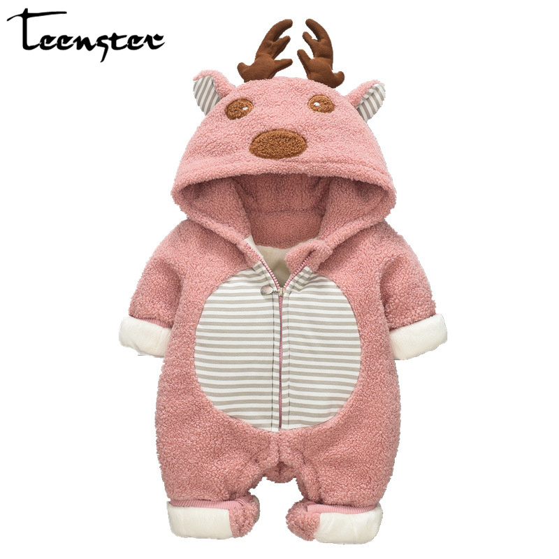 Teenster Newborn <font><b>Christmas</b></font> Outfit Deer Antlers Embroidery Winter <font><b>Fleece</b></font> <font><b>Baby</b></font> <font><b>Girl</b></font> <font><b>Rompers</b></font> Infant Boy Costume Autumn <font><b>Clothes</b></font> image