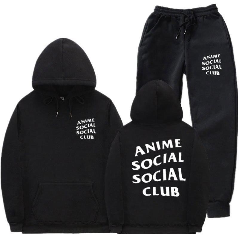 Europe And America Fleece Hoodie Suit Street Anime Social Social Club Sports Hoodie Sweatpants