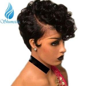 Image 1 - 13*6 rizado Peluca de cabello humano para las mujeres negras corto Glueless peluca con malla frontal Bob peluca brasileña Remy pelucas de encaje Pre arrancado de encaje suizo