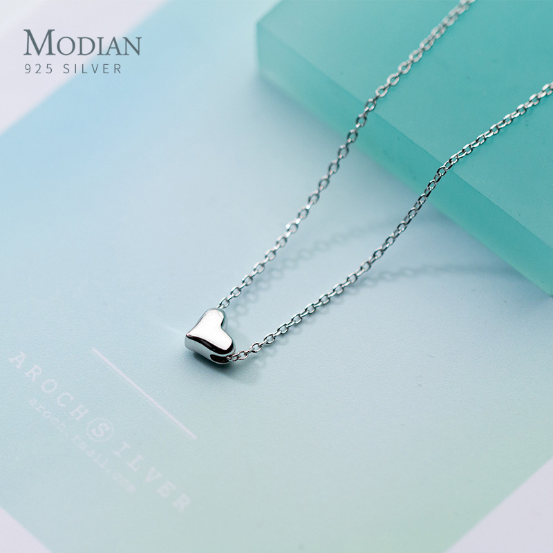 Modian Lucky Cute Heart Chain Necklace For Women Charm Fashion Link 925 Sterling Silver Love Wedding Fine Silver Jewelry