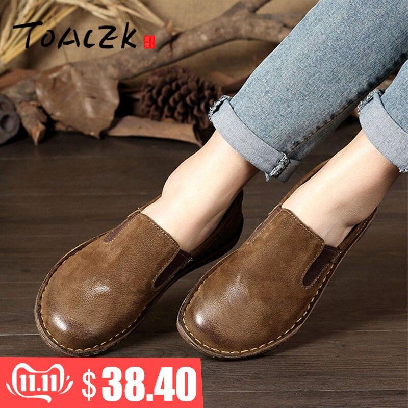 Primavera novo único sapatos de couro artesanal sapatos femininos retro arte plana sapatos casuais cor baixa sapatos femininos tamanho 35-42