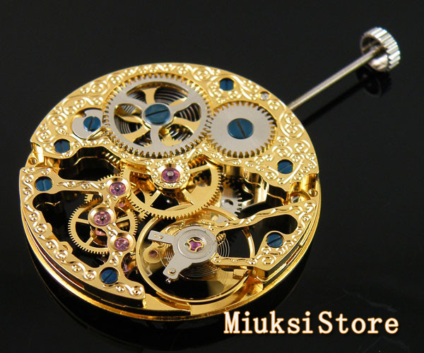 17 Jewels gold full skeleton Hand Winding Asian movement watch accessories