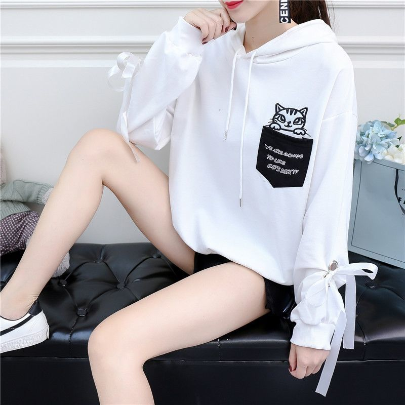 Autumn and Winter New Korean Version of Women's Hooded High Collar Fake Two Fashionable Tops with Plush Thickening for Students 10