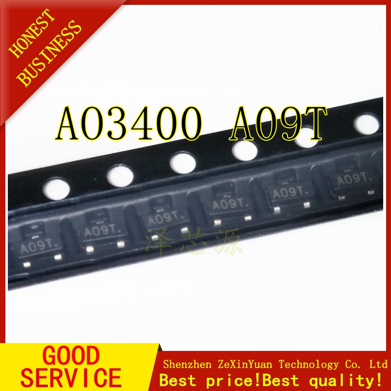 50PCS/LOT New AO3400 SOT-23 AO3400A A09T N-Channel MOSFET