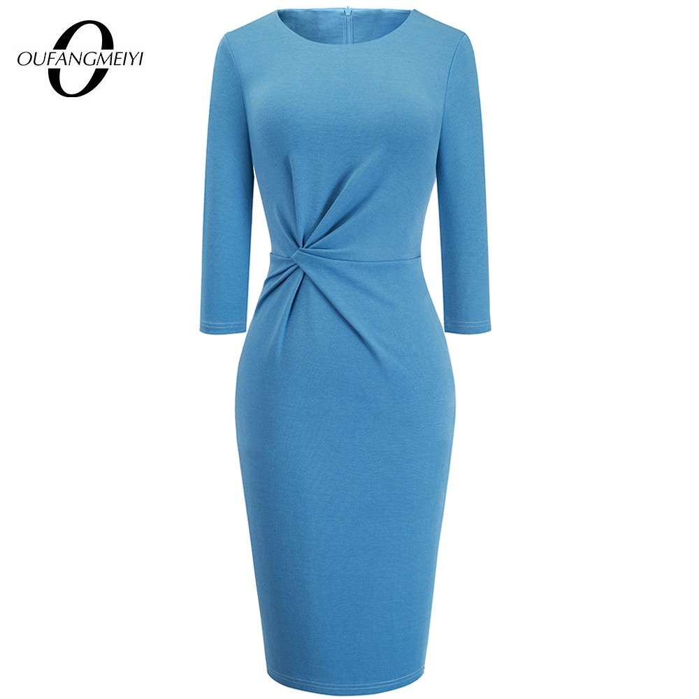Graceful Folding Solid Color Casual Office Lady Round Neck Classic Bodycon