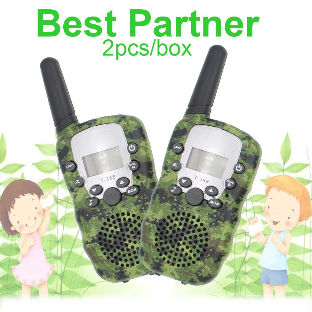 Child 22 Channels FRS Mini Radio Military Camo T-388 With LED Flashlight 2pieces/box RT388 Toy Walkie Talkie For Kids Camouflage