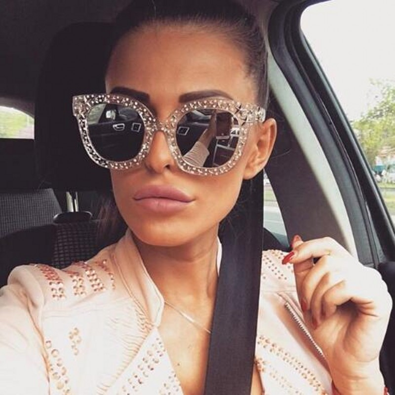 Exaggerated Retro Style SUN GLASSES Unique Square Frame Bling Crystals Dark Lens