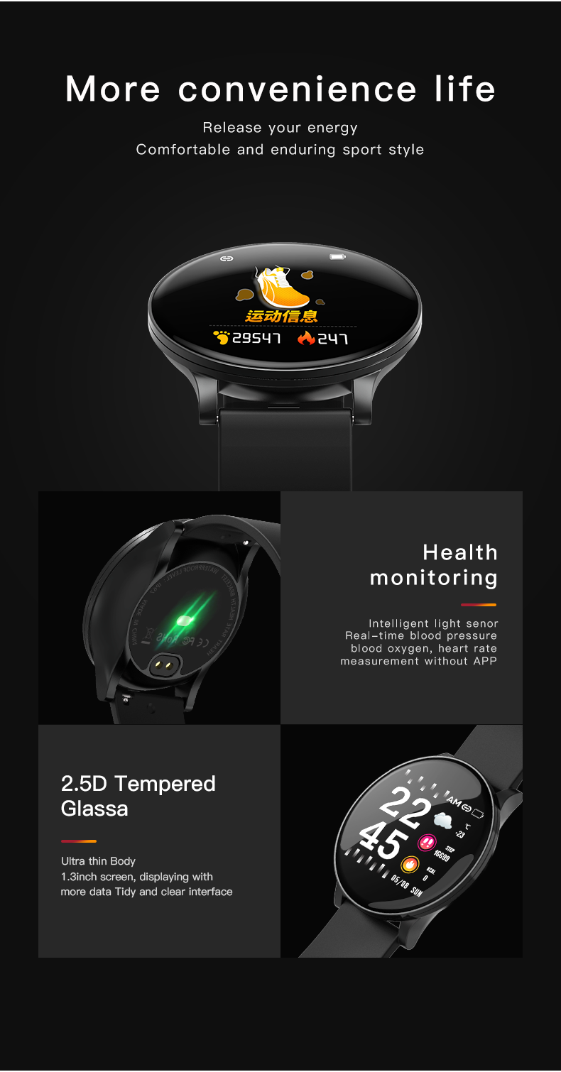 H97ae5387a8fc414d80b117ebb8543202q 2020 Full Touch Smart Watch Men Blood Pressure Heart Rate Monitor Round Smartwatch Women Waterproof Sport Clock For Android IOS