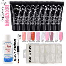 ZWTale Poly Gel Set Nail Kit UV Polish 30ml Extension Builder For White Clear Pink Art
