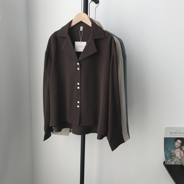 Mooirue Autumn Spring 2019 Women Casual Blouse Suit Long Loose Turn-down Collar Blusas  Feminino Korean Tops