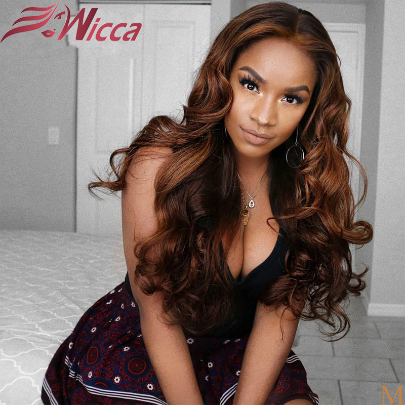 Wicca Ombre Black With Honey Blonde Highlights Human Hair 13X6 180 Density Lace Frontal Wig Brazilian Remy Wavy Human Hair Wigs