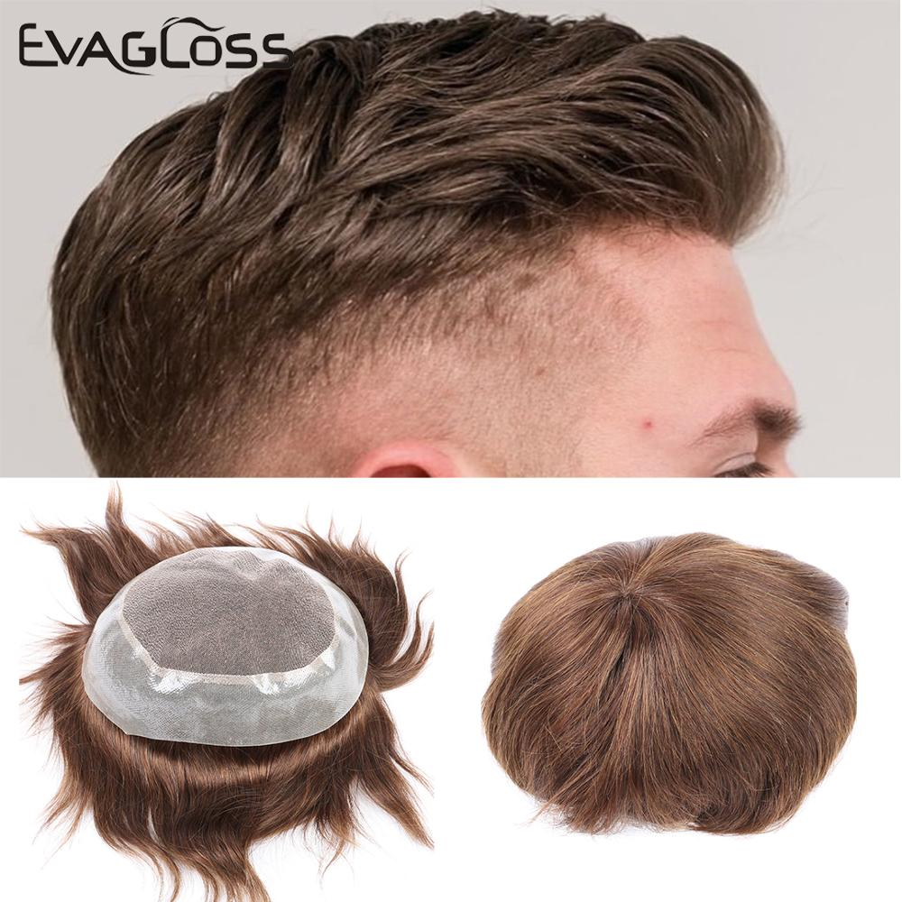 EVAGLOSS Swiss Top PU Around 100% Natural Human Hair Men's Wig Toupee Hairpieces