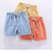 Meninos shorts crianças shorts doce cor meninas crianças verão praia solta shorts casual algodão & linho confortável 2-10yrs quente