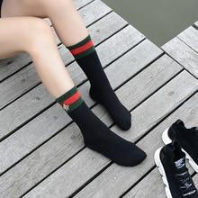 Дизайн, зимние носки, женские хлопковые носки с Пчелкой, рождественские Нескользящие высокие носки