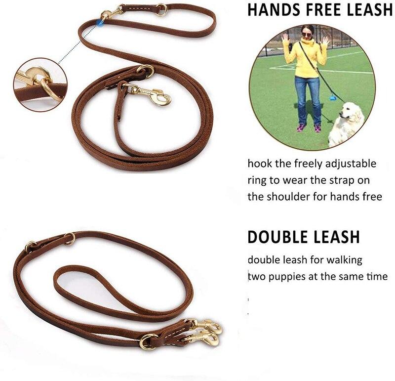 Image 4 - Benepaw Multifunctional Genuine Leather Dog Leash Hands Free Short Medium Long Training Pet Leash For Small Medium Large DogsLeashes   -