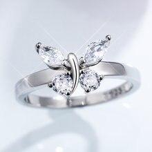 Huitan роскошные серебряные кольца с хрустальными бабочками для женщин AAA кубический цирконий Нежные Свадебные Кольца модные ювелирные издел...