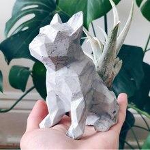 Cement geometric bulldog animal silicone mold Concrete geome