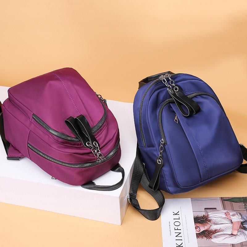 New Waterproof Nylon Women Backpack Zipper School Bags For Teenagers Girls Small Pendant Backpack Female Multifunction Rucksack