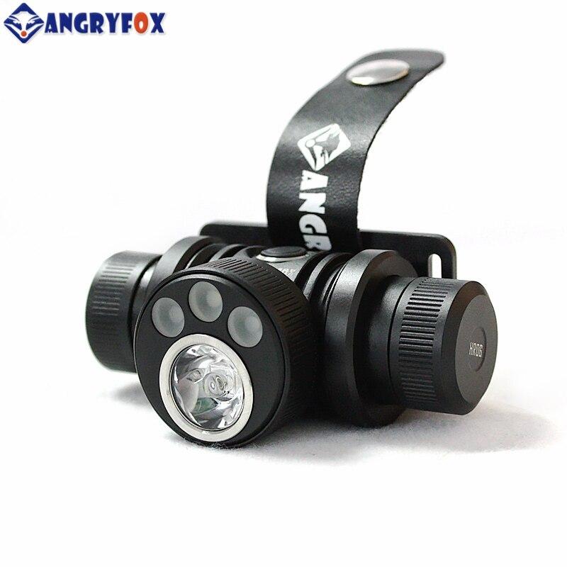 Angryfox HR06 Красный Зеленый магнитный USB зарядка налобный фонарь CR123 18650 16340 перезаряжаемые CREE XML светодиодные фары