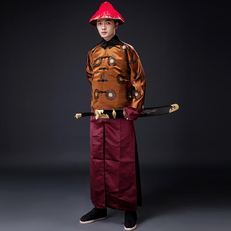High Quality Film TV Cosplay Stage Ancient  Qing Dynasty Handsome Migthy Guard Service Prince Talent Male Men Costume Hat+suits