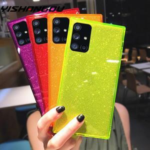 Square Fluorescent color Glitter Phone Case For Samsung S20 Plus Ultra S10 A71 A51 A50 A70 A30 A20 Transparent Soft TPU Cover