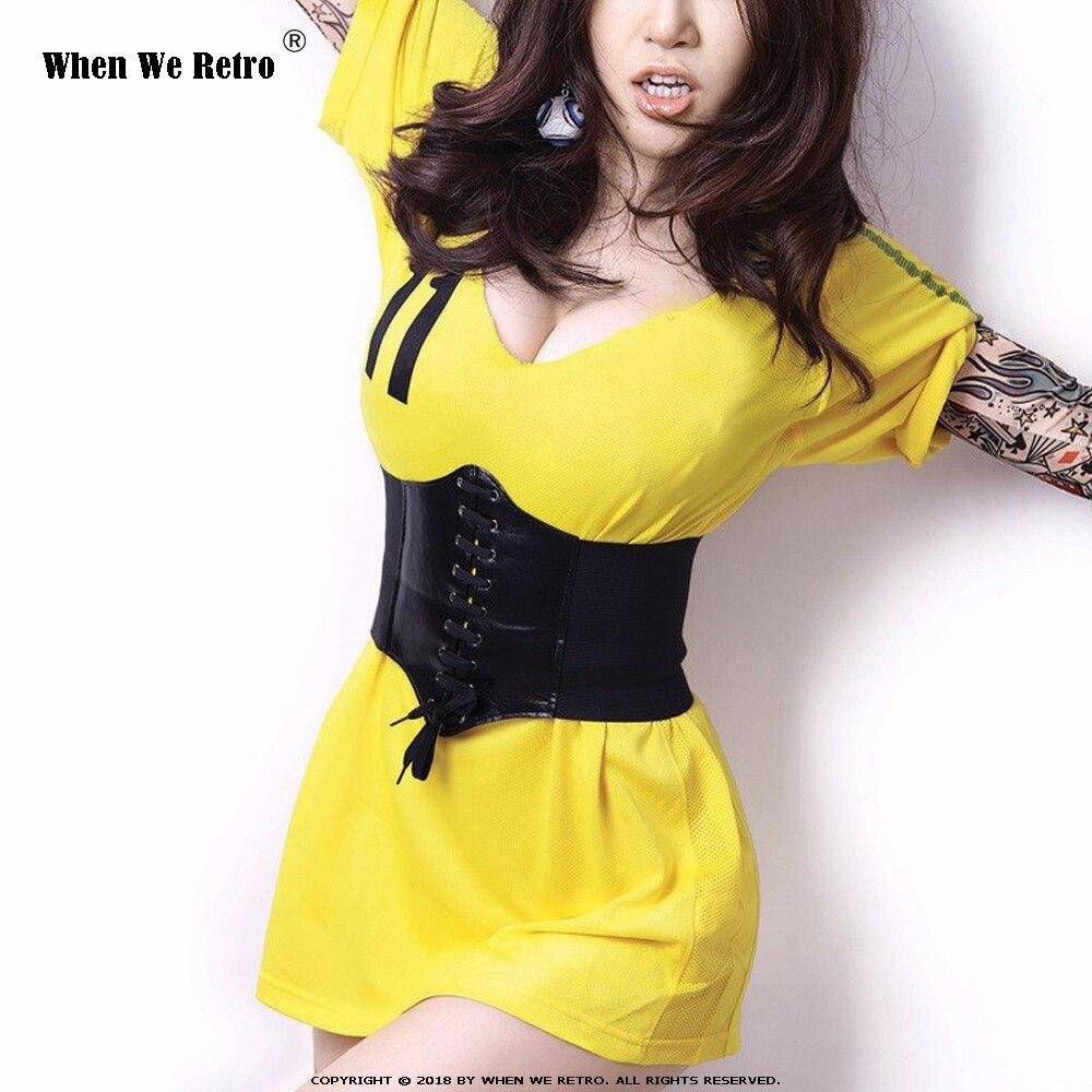 When We Retro Women Wide Belt PU Elastic Corset Belt Fashion Wide Waist Belt Ladies Clothing Accesoories Female Decorations