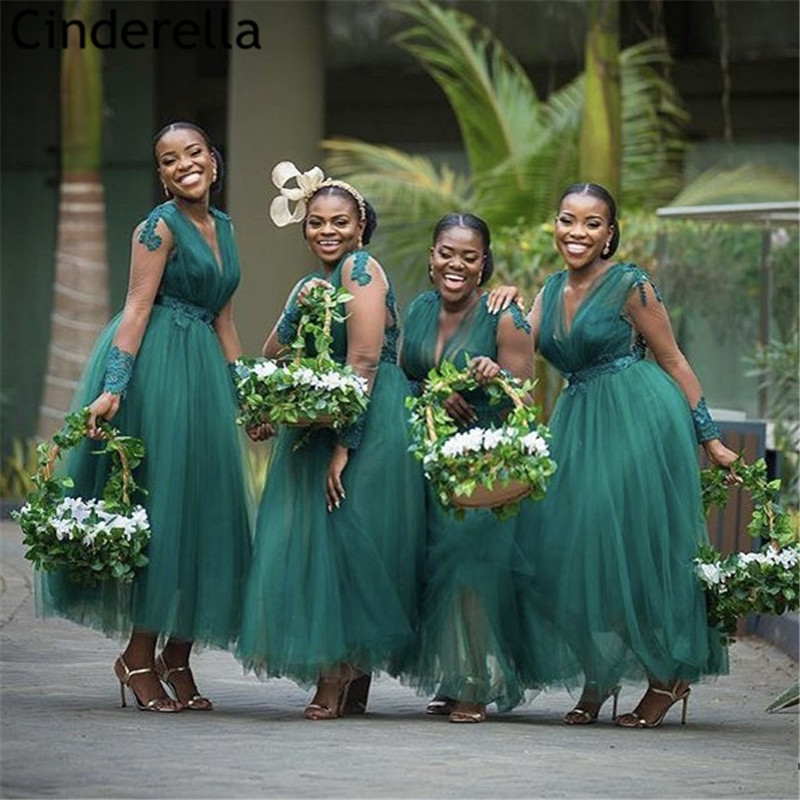 African Bridesmaid Dresses Green V-Neck Long Sleeves Lace Applique Crystal Tulle Ankle Length Wedding Party Bridesmaid Dresses